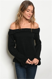 111-3-4-T121478 BLACK OFF SHOULDER SWEATER 2-2-2