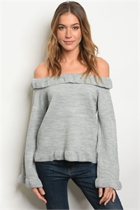 S21-3-4-T121478 GRAY OFF SHOULDER SWEATER 2-2-2