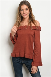 S11-17-1-T121478 BRICK OFF SHOULDER SWEATER 2-2-2