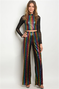 124-3-4-SET3950 BLACK MULTI COLOR CROP TOP & PANTS SET 1-3-3