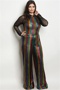 S21-4-4-SET3690X BLACK MULTI COLOR PLUS SIZE CROP TOP & PANTS SET 2-2-2