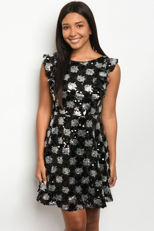 SA4-5-4-D42668 BLACK SILVER WITH SEQUINS DRESS 2-2-2