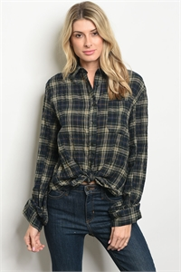 S10-15-3-T13373 GREEN CHECKERED TOP 3-2-1