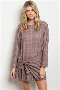 S20-10-1-D2390 WINE CHECKERED DRESS 1-2-2
