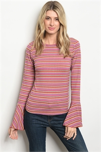 S20-10-2-T5697 PURPLE EARTH STRIPES TOP 1-1-1