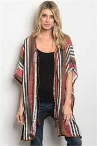 S20-10-2-P3143 WINE OLIVE STRIPES CARDIGAN 1-2