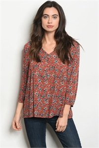 S21-3-5-T1420 EARTH FLORAL TOP 2-2-2