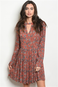 113-2-4-D50341 EARTH FLORAL DRESS 2-2-2
