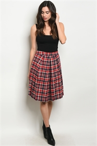 S15-6-2-S60068 RED CHECKERED SKIRT 2-2-2