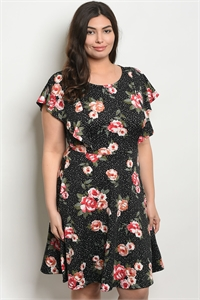 S21-6-5-D14162X BLACK WITH DOTS FLORAL PLUS SIZE DRESS 1-2-2-1