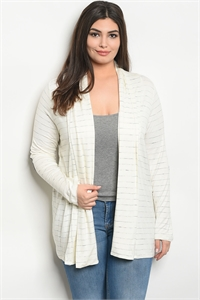 S12-11-5-C75071X IVORY GRAY STRIPES PLUS SIZE CARDIGAN 3-1