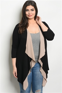 C63-A-3-C554X BLACK TAUPE PLUS SIZE CARDIGAN 2-2-2