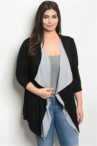 C68-A-1-C554X BLACK GRAY PLUS SIZE CARDIGAN 1-2-2