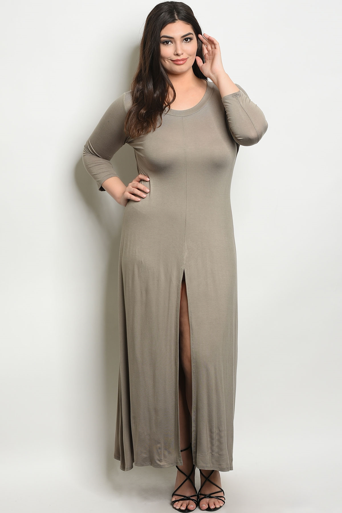 C55-A-7-T555X TAUPE PLUS SIZE DRESS 2-2-2