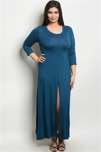C55-A-7-T555X TURQUOISE PLUS SIZE DRESS 2-2-2