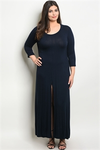 C67-A-1-T555X DARK NAVY PLUS SIZE DRESS 3-2-2