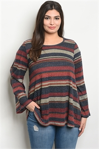 C44-A-1-T451X NAVY WINE STRIPES PLUS SIZE TOP 2-3-3