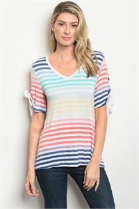 S12-4-5-T1326 CORAL AQUA STRIPES TOP 2-2-2