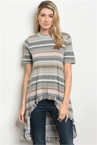S13-2-4-T1392 TAUPE CHARCOAL STRIPES TOP 2-2-2