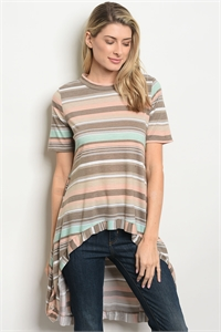 S19-11-2-T1392 BROWN PEACH STRIPES TOP 2-2-2