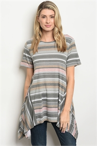 S20-8-3-T1368 GRAY CHARCOAL STRIPES TOP 2-2-2