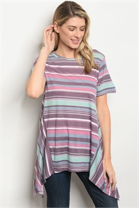 S16-10-3-T1368 LAVENDER AQUA STRIPES TOP 1-2-1