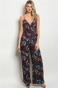 C10-A-1-J5287 BURGUNDY BLUE WITH PAISLEY PRINT JUMPSUIT 1-2