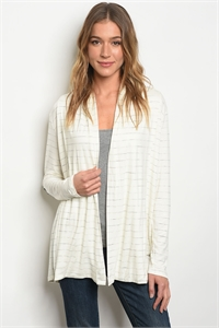 111-2-3-C75071 IVORY GRAY STRIPES CARDIGAN 2-2-2
