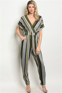 C82-A-2-J2028 GRAY OLIVE STRIPES JUMPSUIT 2-2-2