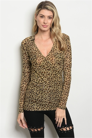 SA3-0-3-T4437 LEOPARD ANIMAL PRINT TOP 2-2-2