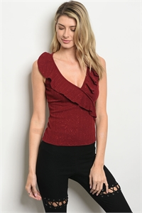 C19-B-3-T9925 RED WITH GLITTER TOP 2-2-2