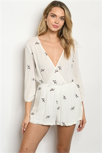 114-2-3-R5696 IVORY WITH FLOWER EMBROIDERY ROMPER 2-2-2