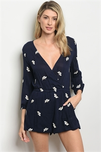 S13-12-3-R5696 NAVY WITH FLOWER EMBROIDERY ROMPER 2-2-2