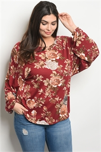 S13-7-3-T32368X BURGUNDY FLORAL PLUS SIZE TOP 2-2-2