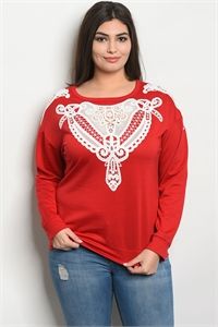 S14-12-1-T10149X RED WHITE PLUS SIZE TOP 2-2-2