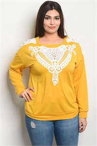 S15-1-2-T10149X YELLOW WHITE PLUS SIZE TOP 2-2-2