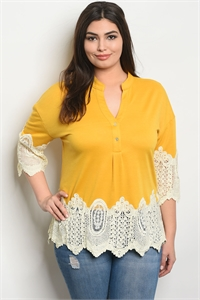 S14-6-2-T38674X MUSTARD CREAM PLUS SIZE TOP 2-2-2