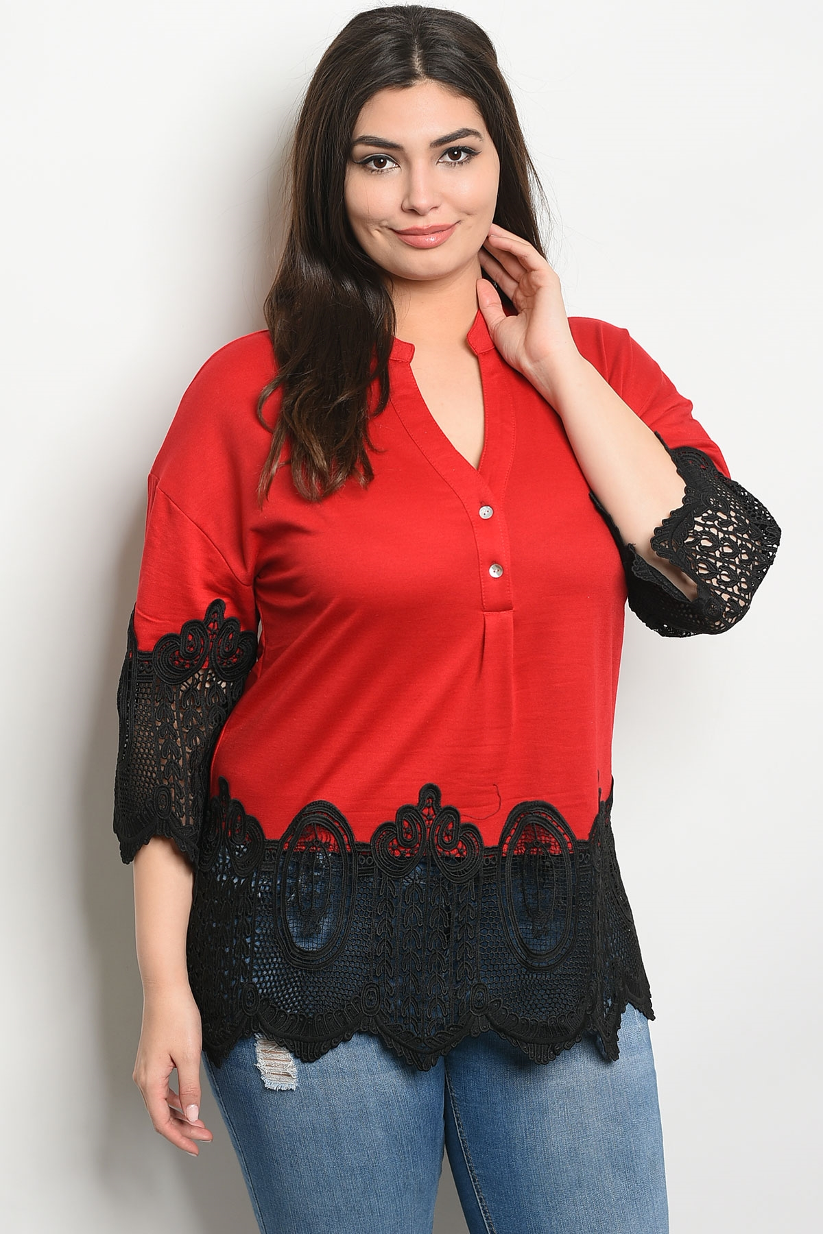 919a14324237 S14-5-3-T38674X RED BLACK PLUS SIZE TOP 2-2-2