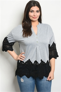 S13-2-4-T38674X GRAY BLACK PLUS SIZE TOP 2-2-2