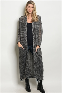 S11-18-2-C308 BLACK GRAY CARDIGAN 2-2-1