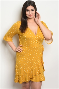 C56-A-6-D17942X MUSTARD WHITE WITH DOTS PLUS SIZE DRESS 2-2-2