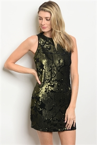 S9-18-3-D72424 OLIVE WITH SEQUINS DRESS 2-2-2