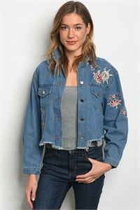 S10-9-3-NA-J90783 DENIM WITH FLOWER EMBROIDERY JACKET 2-2-2