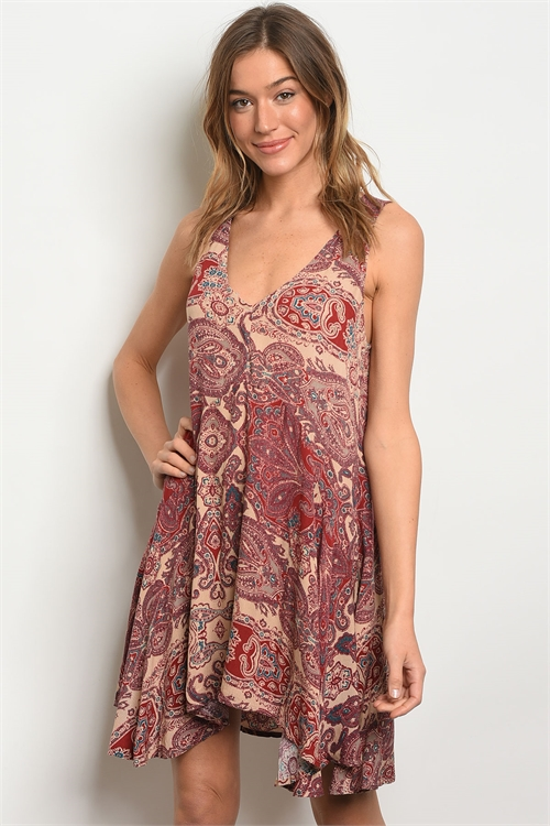 S23-2-1-D13922 TAUPE BURGUNDY WITH PAISLEY DRESS 3-2-1