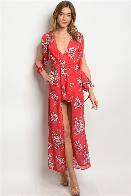 S23-2-1-NA-R74177 RED FLORAL ROMPER 2-2-2