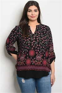 S16-10-2-T9340X BLACK FLORAL PLUS SIZE TOP 2-1-1