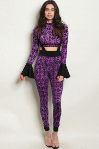 C3-A-7-SET30844 PURPLE BLACK TOP & PANTS SET 2-2-2