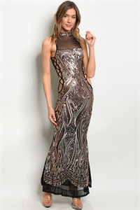 C3-A-1-D50279 BLACK ROSE W/ SEQUINS DRESS 1-2