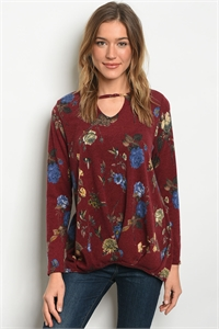 C68-B-6-T8682 BURGUNDY FLORAL TOP 2-2-2