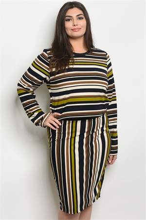 C18-B-3-SET21146X BLACK LIME STRIPES PLUS SIZE TOP & SKIRT SET 2-2-2